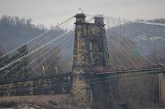 Wheeling West Virginia suspension bridge. A bridge along the Ohio river in Wheeling Stock Photography