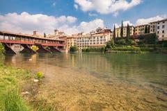 Bridge of the Alpini in Bassano del Grappa, Vicenza, Italy. Royalty Free Stock Photo