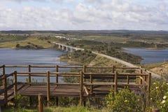 Bridge in the Alqueva lake Royalty Free Stock Images