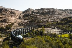 Glenfinnan Viadukt bridge in Scotland. This bridge is also known as the `Harry Potter Bridge`. You have there an amazing view stock image