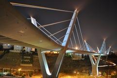 Bridge in Amman,Jordan. Jordan at night time and a the suspended bridge in west Amman Stock Photos