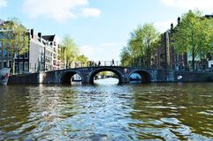 Bridge on Amstel river, Netherlands, Europe Royalty Free Stock Image