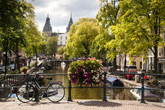 Bridge in Amsterdam. A bridge with bicycles in Amsterdam, Netherlands Stock Image