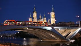 Bridge and ancient Cathedral in Zaragoza stock video footage