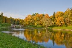 Bridge And Autumn Landscape Royalty Free Stock Photos