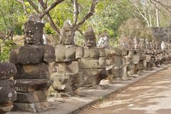 Bridge in Angkor Thom, Cambodia Royalty Free Stock Photography