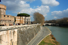 Bridge of Angles, Tiber and St Peter Basilica in Vatican, Rome, Stock Photography