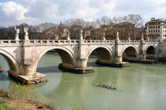 Bridge of Angles, Tiber and St Peter Basilica in Vatican, Rome, Stock Photos