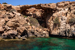 The bridge of Aphrodite, Cyprus, Famagusta. Image of rocks on the sea coast Stock Images