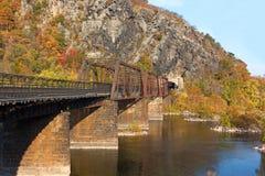 Bridge on the Appalachian Trail where the Potomac River meets the Shenandoah River. Stock Image