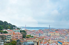 The bridge of 25 April in Lisbon Royalty Free Stock Photography