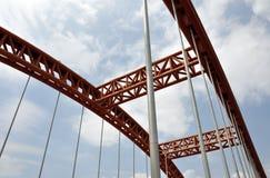 Bridge arch. Orange Bridge arch blue sky white cloud Stock Images