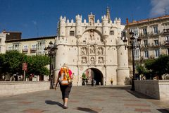 Bridge and Arch of Santa Maria, Burgos. Spain Stock Photography