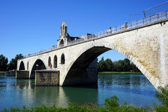 Bridge. Arch stone bridge on the river Rhone in Avignon, France Royalty Free Stock Photo