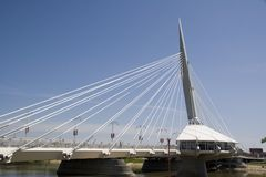 Bridge architecture. A restaurant on a bridge in Winnipeg, Manitoba, Canada stock image