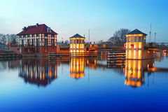 Bridge architecture on Elblag canal at night Royalty Free Stock Image