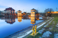 Bridge architecture on Elblag canal at night Royalty Free Stock Photos