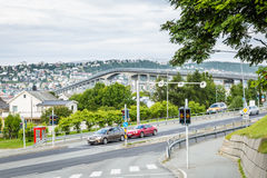 the bridge from the Arctic Cathedral to the center of Tromso in Royalty Free Stock Photo