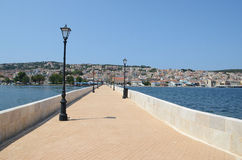 Bridge in Argostoli. The bridge in Argostoli with the town in the background, Greece Royalty Free Stock Photography