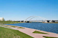 Bridge Arkhar over the Ishim River in Astana Stock Photo