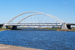 Bridge Arkhar over the Ishim River in Astana Royalty Free Stock Images