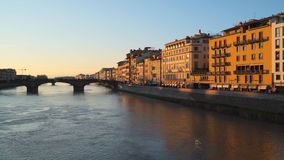 Brridge Arno River Florence. Bridge Arno River Florence. Evening time stock video footage