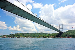 Bridge between Asia and Europe. Bridge between Europe and Asia over the Bosphorus channel Royalty Free Stock Photos