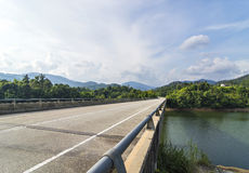 Bridge asphalt road. In mountain hill Royalty Free Stock Photos
