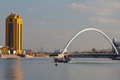Bridge at Astana. River at sunset stock images