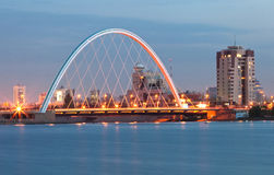 Bridge at Astana. River at sunset Stock Image