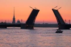 Bridge At Night On The Neva River. Royalty Free Stock Photo