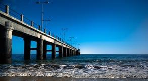 Bridge on the Atlantic Ocean. In a sunny day Stock Image
