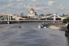 From the bridge. August 2016 beautiful view from the bridge over the Moscow river Stock Photo