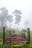Bridge autumn foggy morning landscape and meadow on the mountain Royalty Free Stock Photo