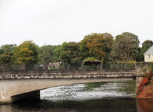 Bridge With Autumn Leaves Across The Erne River Stock Image