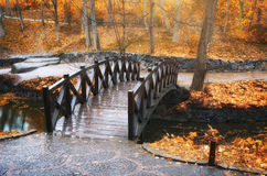 Bridge in autumn park Royalty Free Stock Photos