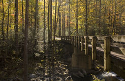 Bridge, Autumn, Tremont, Smokies NP. Bridge, Autumn, Tremont, Great Smoky Mountains National Park, TN stock photo