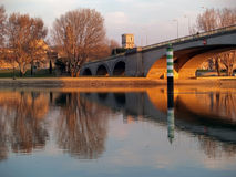 Bridge in Avignon. View from the island of Barthelasse Royalty Free Stock Photography