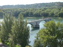 Famous bridge of Saint Benedict of Avignon in Provence in France. stock photo