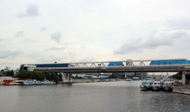 Bridge Bagration over the Moscow River in the financial business center Moscow-City Stock Photography