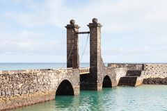 Bridge of the Balls in Arrecife. Puente de las Bolas leads to San Gabriel Castle in the port city of Arrecife on the Spanish island of Lanzarote Stock Photography