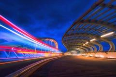 Bridge in Barakaldo at night. With traffic light royalty free stock images