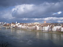 Bridge in Basel. This shot is taken overlooking the River Rhine from one of the many bridges in Basel. This is aiming towards the Eastern part of the city royalty free stock image