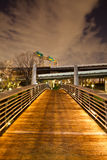 Bridge on Bayou walk. This bridge near downtown Houston allow walkers, runners or bikers to reach the north side of the buffalo bayou walk Royalty Free Stock Image