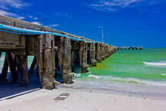 Bridge ,. A beach is beautiful, the green sea, the sky is blue Royalty Free Stock Photos