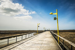 Bridge on the beach of St. Peter-Ording Royalty Free Stock Photography