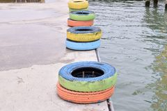 Tires at the port stock photos