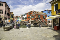 Bridge in beautiful city of Burano, Venice, Italy, 2015 Royalty Free Stock Image