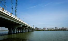 Bridge. Beautiful city highway bridge across the lake, easy for people to travel Royalty Free Stock Photography