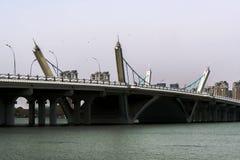 Bridge. Beautiful city highway bridge across the lake, easy for people to travel stock photo